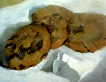 chocolate chip cookies oil painting